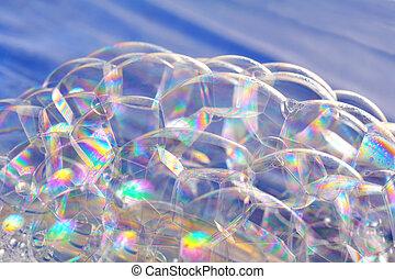 brillante, burbujas, jabón