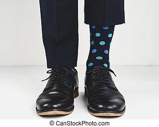 brillante, calcetines, elegante, shoes