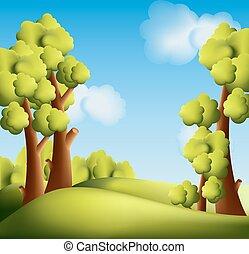 brillante, caricatura, paisaje, con, árboles