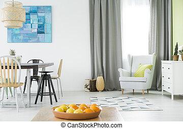brillante, casa interior, con, tabla