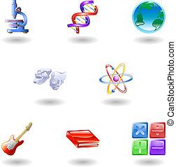 brillante, categoría, educación, iconos de la tela