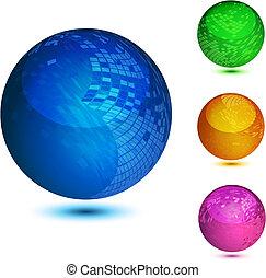 brillante, colorido, resumen, globos