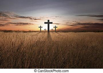 brillante, cristiano, cruz, en, ocaso