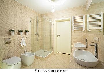 brillante, cuarto de baño, con, ducha