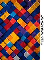 brillante, cubos, 3d, plano de fondo, multicolor
