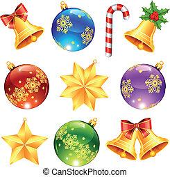 brillante, decoraciones de navidad
