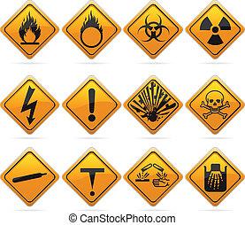 brillante, diamante, peligro, señales
