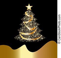 brillante, dorado, árbol de navidad