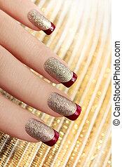 brillante, dorato, manicure.