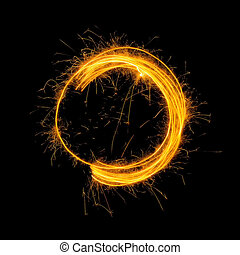brillante, encendido, fuego, círculo, en, fondo negro