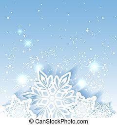 brillante, estrella, navidad, plano de fondo, copo de nieve