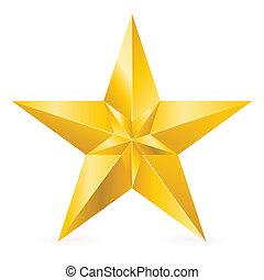 brillante, estrella, oro