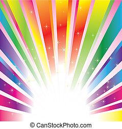 brillante, estrellas, colorido, plano de fondo, explosión