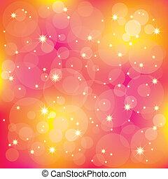 brillante, estrellas, luz, en, colorido, plano de fondo