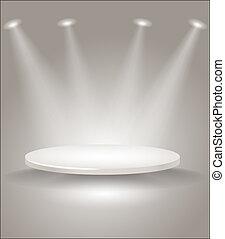 brillante, etapa, con, luces del punto