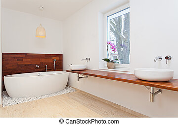 brillante, exótico, cuarto de baño