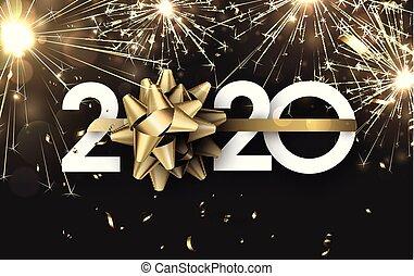 brillante, feliz, año, nuevo, bandera, 2020, dorado, firework.