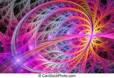 brillante, floral, plano de fondo, fractal, ilustración, ornamento