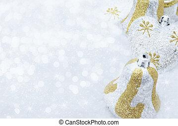 brillante, fondo, neve, decorazioni, natale