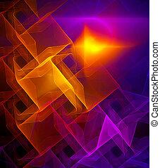 brillante, fractal, embaldosado