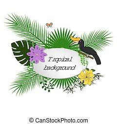 brillante, hawaiano, diseño, con, tropical, plantas, y, flores