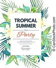 brillante, hawaiano, diseño, con, tropical, plantas, y, hibisco, flores