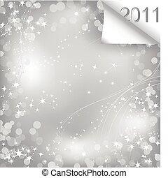 brillante, hoja de papel, con, rizo, 2011., vector