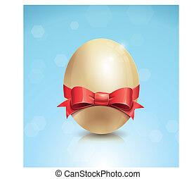 brillante, huevo de pascua, con, arco rojo