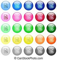 brillante, iconos, tagging, documento, botones, color