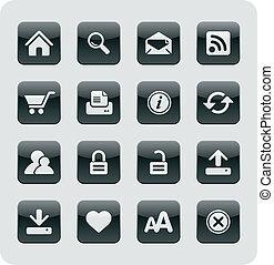 brillante, internet, /, iconos de la tela