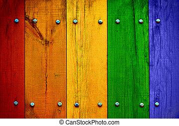brillante, madera, tablones, multicolor