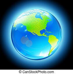 brillante, mapa tierra, globo