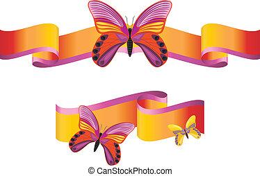 brillante, mariposas, en, el, cintas