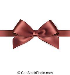 brillante, marrón, cinta raso, blanco, plano de fondo