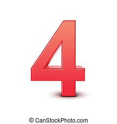 brillante, número, rojo, 4