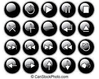brillante, negro, botones