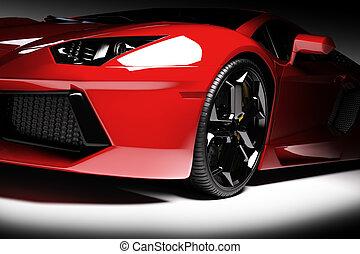 brillante, nuevo, coche, rápido, deportes, fondo., negro, ...