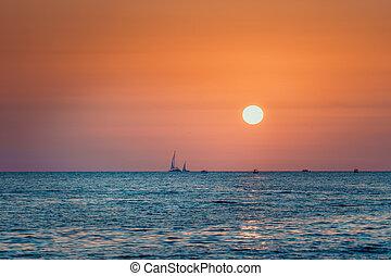 brillante, ocaso, mar, plano de fondo