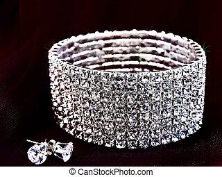 brillante, orecchini, braccialetto