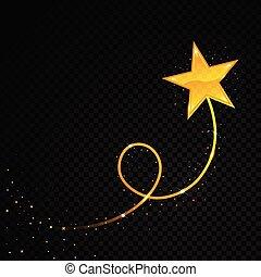 brillante, oro, brillo, estrella, partículas, fondo., cometa...