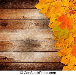 brillante, otoño sale, en, el, viejo, grunge, de madera, plano de fondo