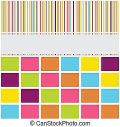 brillante, patrón, rayas, saludo, colores, tarjeta, plano de...
