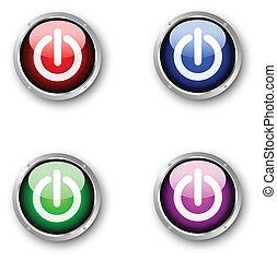 brillante, potencia, iconos