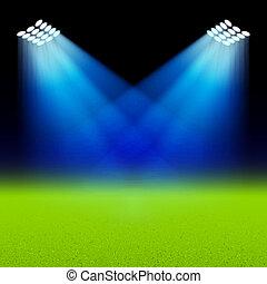 brillante, proyectores, iluminado, verde