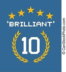 brillante, punteggio, bandiera, 100