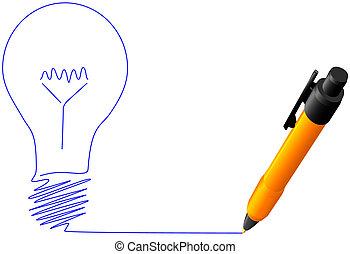brillante, punto de la bola, luz, idea, amarillo, pluma, bombilla, dibujo