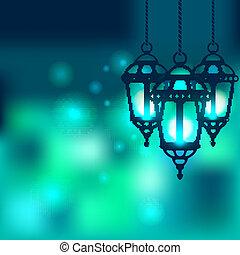 brillante, ramadan, plano de fondo, linterna