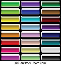 brillante, rectangular, botones