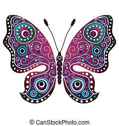 brillante, resumen, mariposa