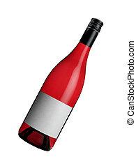 brillante, rojo, botella, vino